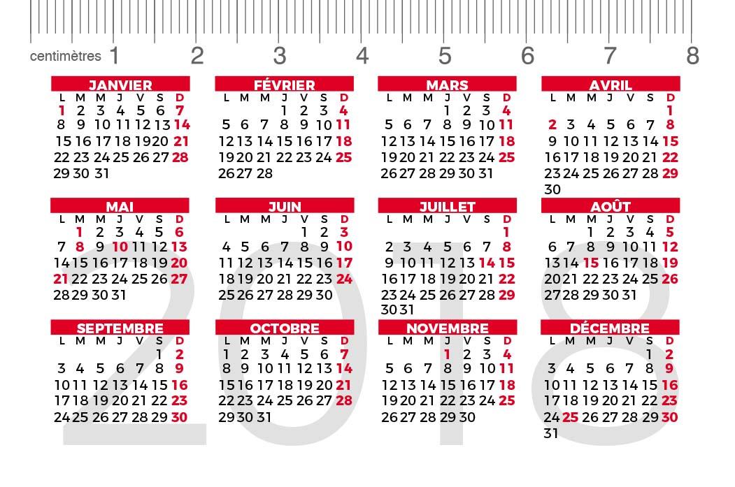 calendrier de poche pliable